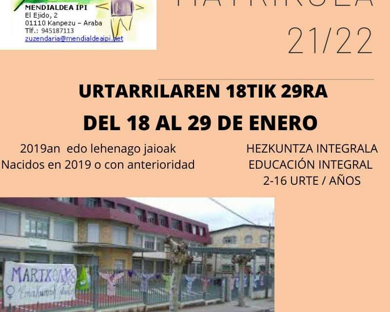 Matrikula 2021/2022 Mendialdea IPI