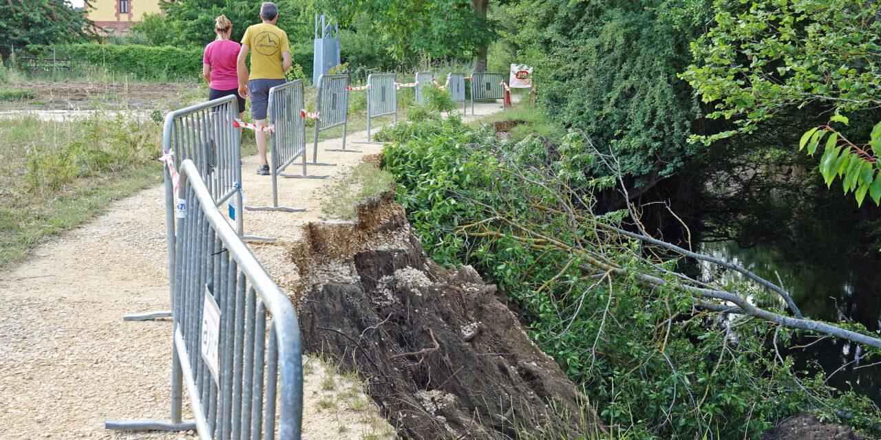 La vía verde habilita en Antoñana un tramo alternativo mientras se restaura el talud desprendido