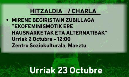 Hitzaldia-Charla: Ekofeminismotik ere hausnarketak eta alternatibak (Maeztu, urriak 2 de octubre)