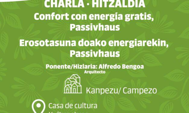 Charla-Hitzaldia: Confort con energía gratis, Passivhaus (Azaroak 12 de noviembre, 18:00)