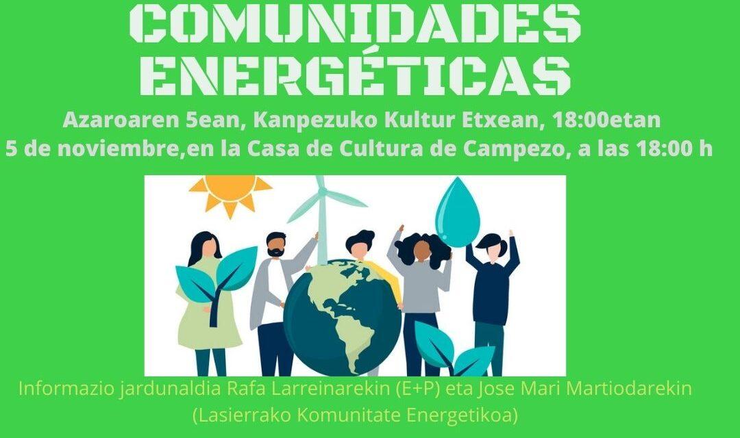 Charla – Hitzaldia: Comunidades energéticas – Komunitate energetikoak (Kanpezu, azaroak 5 de noviembre)