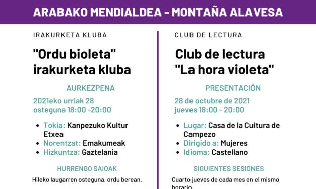 Presentación-Aurkezpena: Club de lectura «La hora violeta» (Santa Cruz de Campezo, urriak 28 de octubre)