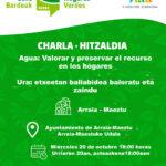Charla – Hitzaldia: » Agua: valorar y preservar el recurso en los hogares» (Maeztu, urriak 20 de octubre)